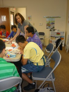 Margot Heffernan teaching Chinese ESL students on August 17, 2012