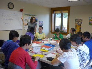 Margot Heffernan with Chinese ESL students on Thursday, August 16, 2012